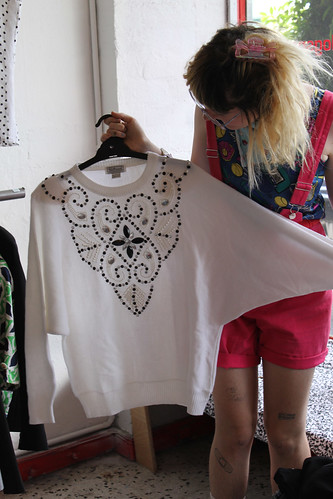 beaded white jumper