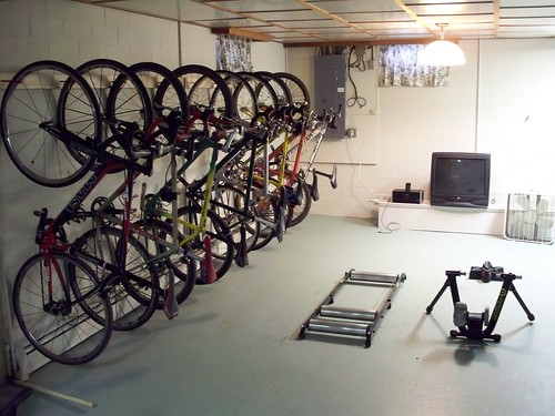 New bike rack / training area in basement