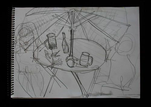 """Cafe in Plaza Serrano"" - Pencil on Paper - 11""x14"""