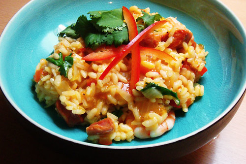 Spicy sausage and prawn risotto