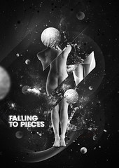 Falling to Pieces (Gaston Garcia Photography) Tags: white black art girl female digital photoshop nude typography design pieces graphic body space falling sphere planet illustrator burst emotional cosmic collision