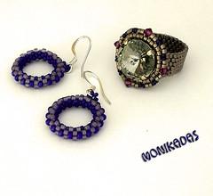 anillo y aretes (Monikika) Tags: azul lila rivoli pendientes bisuteria hechoamano monikadas swaroswki