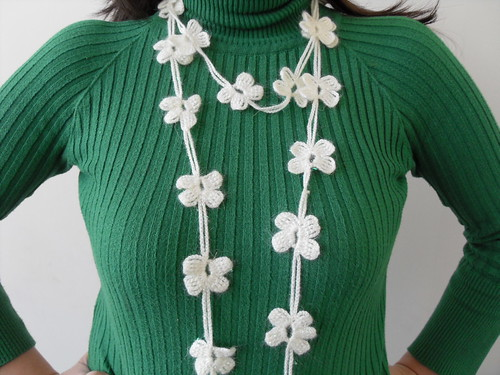 Crocheted 4 Leaves Clover Necktie,Shawl,Scarf,Necklace,Free Shipping, St Patricks Day Gift