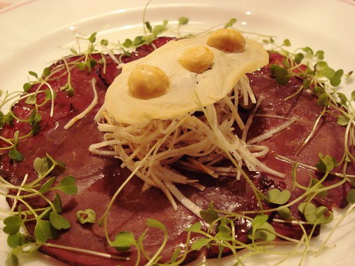 Wafer Thin Cured Orkney Beef with a Crunchy Celeriac Salad, Fresh Blueberries and Roasted Hazelnuts
