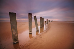 The posts of Berrow (le-spikey) Tags: wood sunset bw water pool clouds reflections concrete nikon soft long exposure stu tide low sigma somerset lee sands streaked posts 1020mm pillars meech berrow nd110 06nd d300s