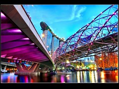 Singapore DOUBLE Helix Bridge:: (Kenny Teo (zoompict)) Tags: blue light sunset sea sky cloud seascape reflection building tourism water beautiful sunrise canon wonderful river lens landscape bay construction scenery photographer waterfront view walk secret wave landmark tourist best getty 17 bluehour kenny reveal attraction 2010 singaporeriver marinabay benjaminshearesbridge sigmalens top20hdr thesand singaporecasino stateofart spiralbridge colorphotoaward marinabaysands flickraward canoneos500d marinabaysand zoompict integreatedresort opening17mar2010 sandintergratedresort r singaporestb singaporelowerpiercereservoir
