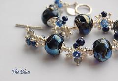 The Blues - SOLD (gemwaithnia) Tags: uk blue glass wales handmade bracelet lampwork theblues sterlingsilver hilltribesilver sarahbedwell gemwaithniajewellery