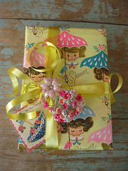 Vintage All The Way (moxie-girl) Tags: flowers vintage wrapping paper card thrift packaging giftwrap posie