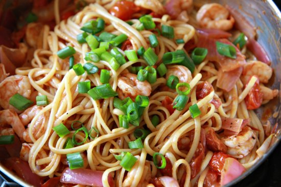 Cherry Tomato Shrimp Linguinie