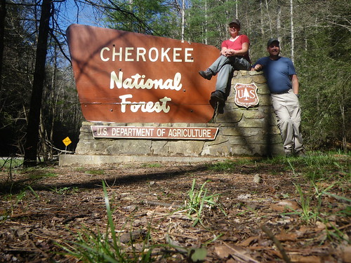 Chris & Misti w/ Cherokee National Forest sign
