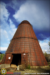Beehive Burner (BCOL CCCP) Tags: old blue sky history beautiful clouds rural decay logging columbia bee british teepee burner beehive rare sawmill wigwam cccp bcol