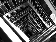 Up to the Library (Chris O'Brien - Ellipsis-Imagery) Tags: blackandwhite bw abstract metal canon utah stair availablelight iso400 angles rail plate diagonal beam step saltlakecity repetition dizzy depth 2010 f560 1125sec canoneos40d 5000mm chrisopics