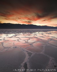 Badwater Sunset, Death Valley.  March 17, 2010 (Robert Pearce Photography) Tags: california pink sunset red reflection water reflections landscape march spring salt deathvalley formations 2010 badwater telescopepeak nikond200 robertpearce robertpearcephotography
