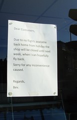 Sign of the times in a Preston shop window (Tony Worrall Foto) Tags: uk england urban window shop outside volcano iceland words closed northwest notice god lancashire disaster airline rubbish april preston ashton northern signofthetimes waterlane