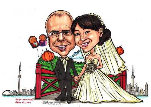 Couple wedding caricatures at Toronto Shanghai - A4
