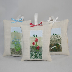 Grassland Flowers Lavender Bags (Lynwoodcrafts) Tags: flowers floral embroidery lavender grassland chicory stitched embroidered handstitched hogweed redcampion
