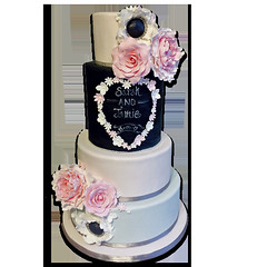 Blackboard flowers Wedding Cake