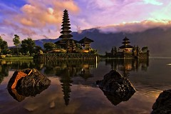 Pura Ulun Danu, Bedugul, Bali - Morning by the lake (Mio Cade) Tags: trip morning bali sun lake colour reflection water sunrise canon pose indonesia landscape temple eos colorful asia colourful pura ulun danu arrange polariser bedugul