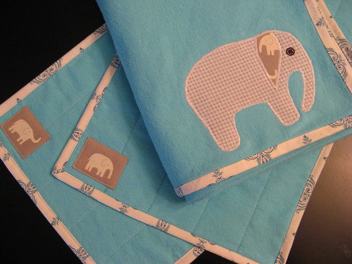 turquoise elephant blanket and burp cloths