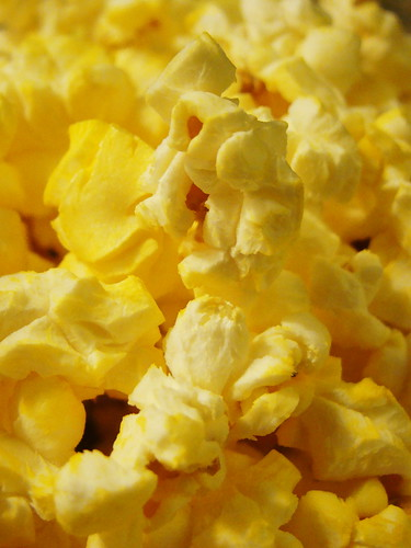 A close-up shot of a bowl of popcorn