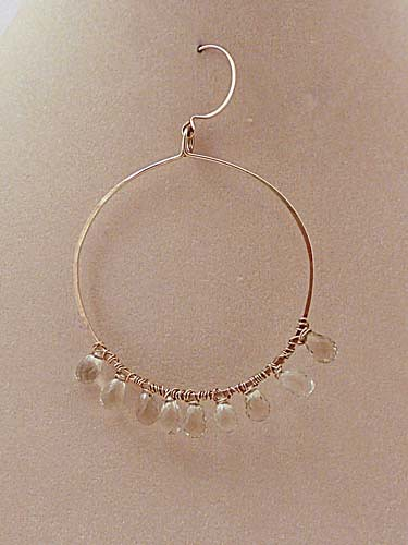 ESP002b Hammered Hoops w/ Wire-wrapped Gems (Gold)