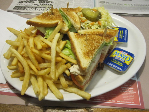 Club Sandwich and a Diet Coke at Plaza McGill - $17 with tip