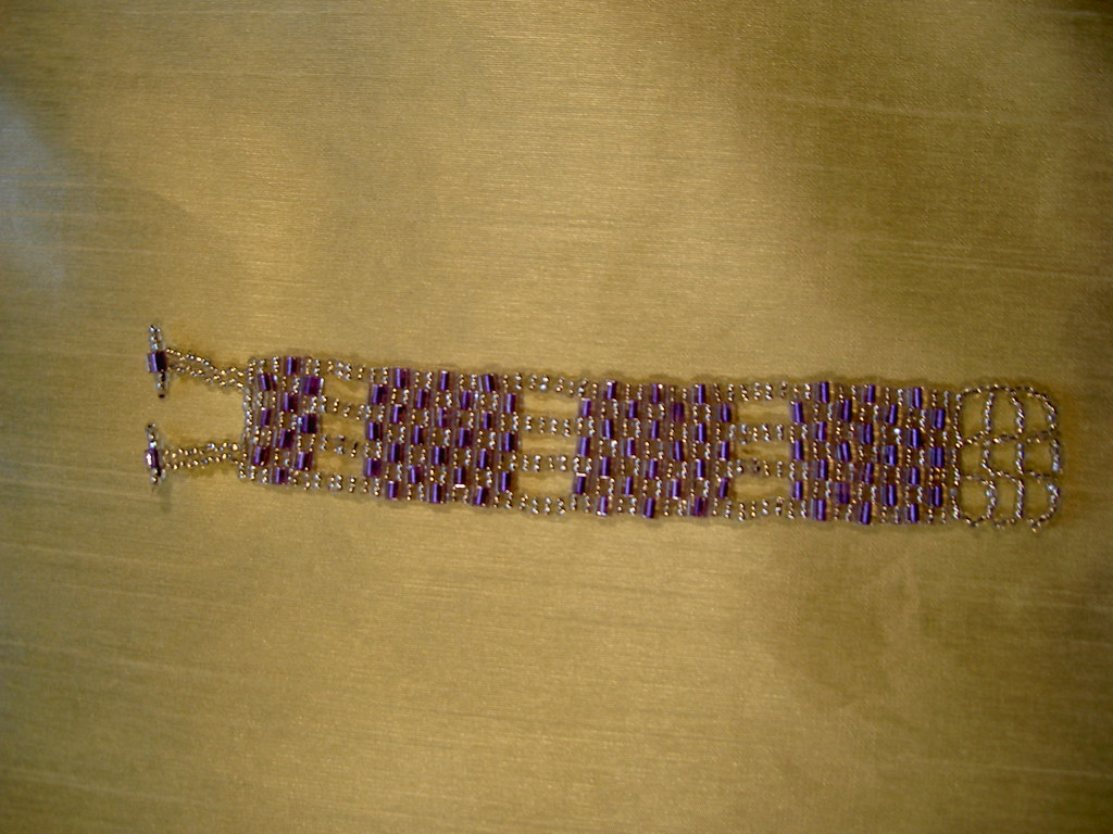 Purple and Silver Squared Braclet