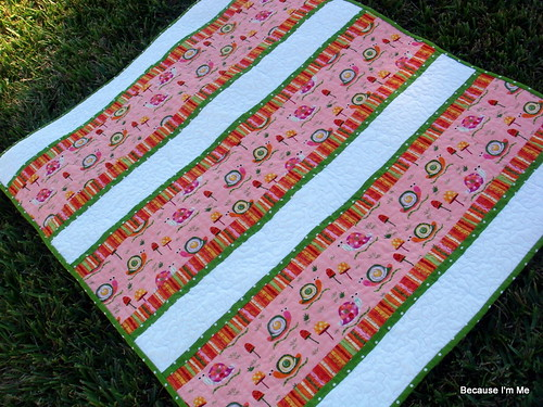 pink orange green quilt