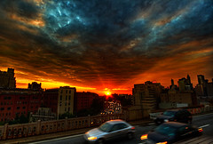 Brooklyn Sunset I HDR (hans jesus wurst) Tags: nyc newyorkcity blue sunset red sun car clouds photoshop lab sundown motionblur brooklynbridge oversaturated dramaticsky highdynamicrange hdri lucisart photomatix tonemapping 3exp canoneos400d sigma1020mm1456dchsm hansjesuswurst moritzhaase brooklynsunsetihdr