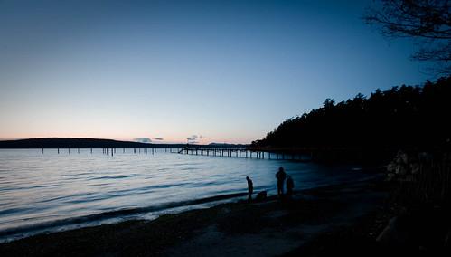 Evening beach walking