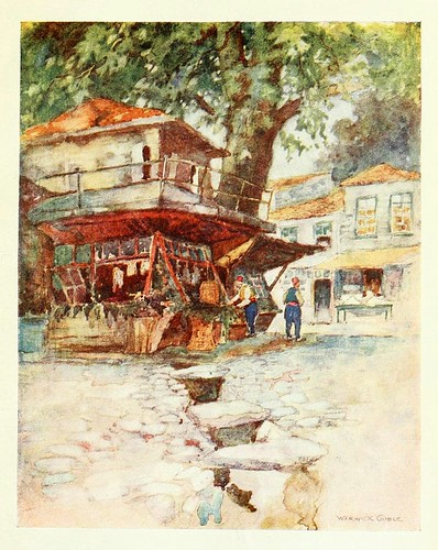004-Una tienda de pueblo en Kavak- Constantinople painted by Warwick Goble (1906)