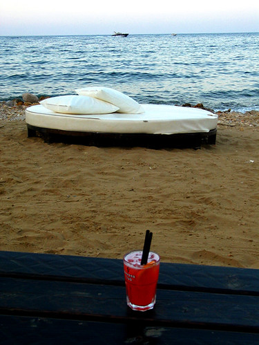 In a bar, by the sea