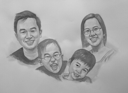my family portraits in black & white watercolour - 2