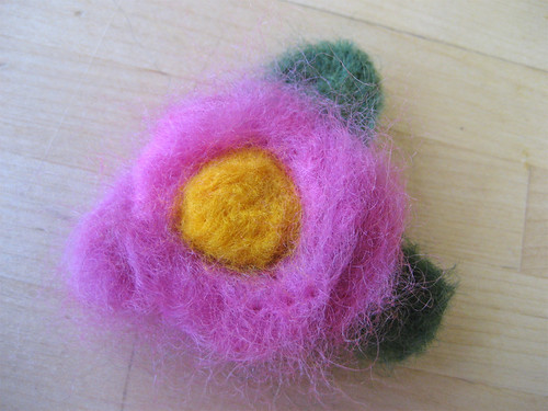 Pink felted flower
