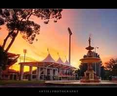 The Adelaide Oval, South Australia :: HDR (Artie | Photography :: I'm a lazy boy :)) Tags: sunset sky building water fountain sport architecture photoshop canon cs2 stadium tripod kitlens australia structure cricket adelaide 1855mm southaustralia efs hdr artie saca adelaideoval 1871 sportground grandstands 3xp photomatix tonemapping tonemap 400d rebelxti