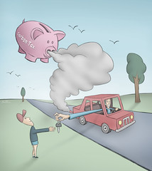 Carbon Tax (Ben Heine) Tags: park trees boy green nature car illustration copenhagen fossil us key energy smoke energie father eu gas problem greenhouse pollution future environment taxes piggybank emissions economy parc climatechange climate solution fuel alternative clef globalwarming confidence petroleum cl co2 tirelire fumes combustion dioxide politicalart kyotoprotocol climat financialcrisis benheine carbontax thesuperbmasterpiece copenhagensummit worldwidetrouble