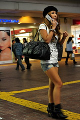 Shibuya Train Station /  () Tags: camera city vacation fashion night asian island tokyo nikon phone boots gare telephone shibuya cell trainstation mobilephone  paparazzi nippon   70300mm isle rtw japon nihon edo kanto lancome vacanze roundtheworld japanesegirl railstation shortshorts globetrotter tokyometro japn tramstation jeanshorts honshu shibuyastation schn    leatherbags tky shibuyaward leatherboots  worldtraveler shibuyaku globalpositioningsystem nightcapture 22days landoftherisingsun  nihonkoku nipponkoku tkyto  leatherbag  d700 tokyometropolis nikond700 shibuyatrainstation    tkei