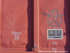 """? and the one I call """"Whistle Destroyer"""" ( boxcar art freight train graffiti ) (4 I ARCHIVES) Tags: railroad art train graffiti michael sketch artist streak tag tags destroyer worker boxcar roads streaks hobo freight whistle 07 2007 poulin blower adios monikers moniker boxcarartcom columbianos"""