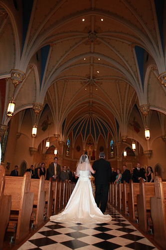 Going down the aisle at St. Andrews Catholic Church