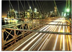 Brooklyn Bridge (kw~ny) Tags: nyc longexposure newyork traffic manhattan brooklynbridge eastriver suspensionbridge hdr eastbound kevinwoods