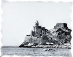 Like an old English china.... (in eva vae) Tags: china old sea bw italy seascape church nature water monocromo boat eva italia liguria cape portovenere legacy porcelain laspezia grafic spietro estremit graphicmaster sailsevenseas inevavae