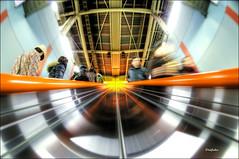 We're at maximum warp! (Daifuku Sensei) Tags: blur station japan train subway geotagged tokyo nikon escalator fisheye nakano hdr d300 singleexposurehdr geo:lon=139665896 nikon105mmf28dx geo:lat=35705975 354222n 1393957e