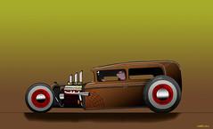 Hot Rod Jalopy (kenmojr) Tags: auto car illustration hotrod vehicle artrage jalopy corel kenmo krm