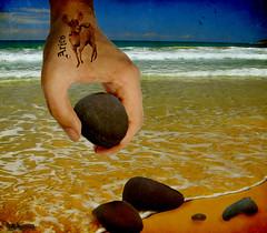 Beachcomer. (rubyblossom.) Tags: sea tattoo digital project photo sand manipulation pebbles 365 ram challenge aries beachcomer rubystreasures