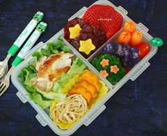 Chicken & Sweet Potato Bento (sherimiya ) Tags: school chicken mushroom tomato lunch kid strawberry sheri broccoli bento carrots sweetpotato obento bloodorange enoki purplepotato okinawansweetpotato yellowcarrot sherimiya