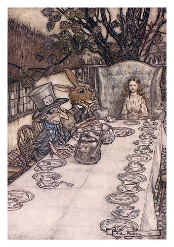 007-Mad tea party-Alice's adventures in Wonderland-1907- Arthur Rackham