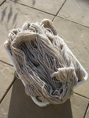 Big basket of dry wool yarn