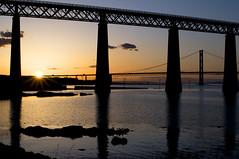 Both Bridges (Alexis Manson) Tags: road bridge sunset sea water scotland edinburgh rail forth alexismanson