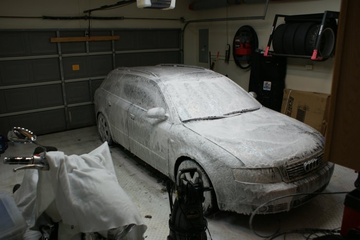 audi with thick layer of foam in garage