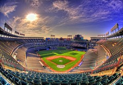 The Ballpark in Arlington (Matt Pasant) Tags: sun sunrise canon landscape day baseball time outdoor tripod double fisheye single flare rangers triple hdr texasrangers homerun nosebleed upperdeck americanleague nolanryan ballparkinarlington alwest 5exposure imagetype photospecs highdyanmicrange canoneos5dmarkii sigma15mmf28dgfisheye